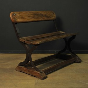Petit banc en bois et métal