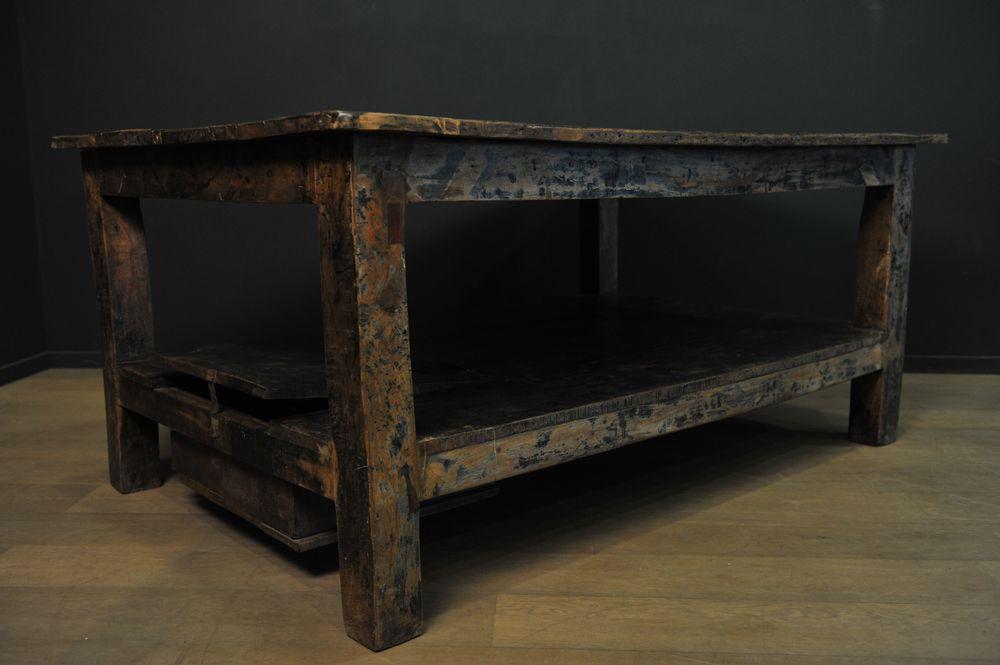 Grande table en bois patiné massif u2013 Mes découvertes # Grande Table En Bois Massif