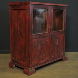 Meuble vitrine en bois patine rouge  (2)
