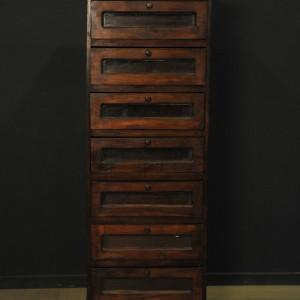 cabinet vertical en bois a tiroirs vitres (3)