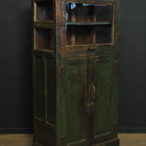 armoire en bois patine vitree en partie haute  (1)
