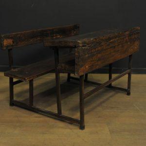 pupitre d ecolier ancien en bois et metal  (3)