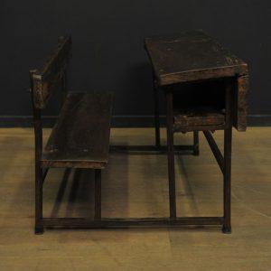 pupitre d ecolier ancien en bois et metal  (4)