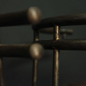 Tabouret de bar en teck et acier vintage