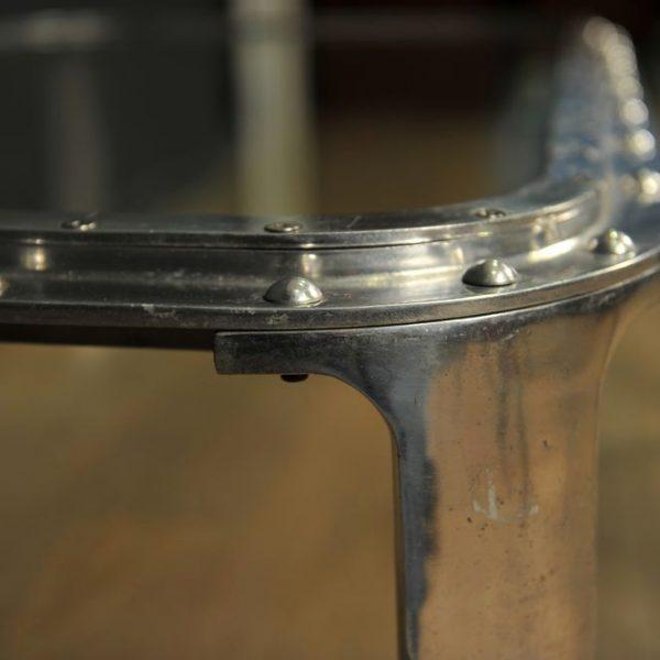 table basse industrielle acier verre