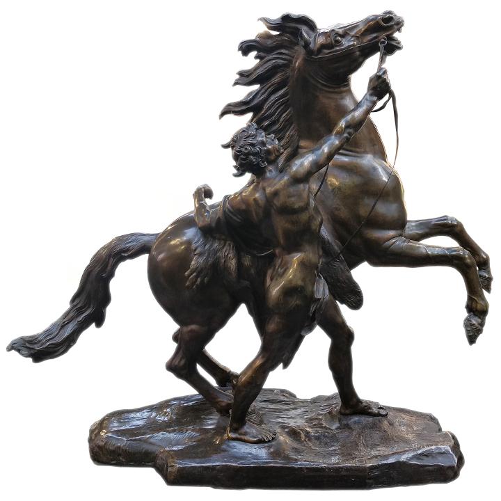 Bronze représentant un homme domptant un cheval - Julien Cohen