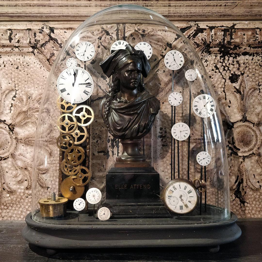 Buste en bronze Jean-Louis Grégoire sous globe