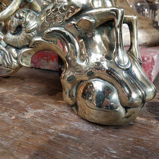 Paire de chenets en laiton du 19ème siècle