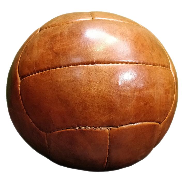 Reproduction de médecine ball en cuir des années 50