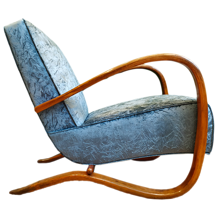 Paire de fauteuils Jindrich Halabala Bleus