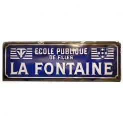 Plaque émaillée école de filles La Fontaine - Julien Cohen Affaire Conclue