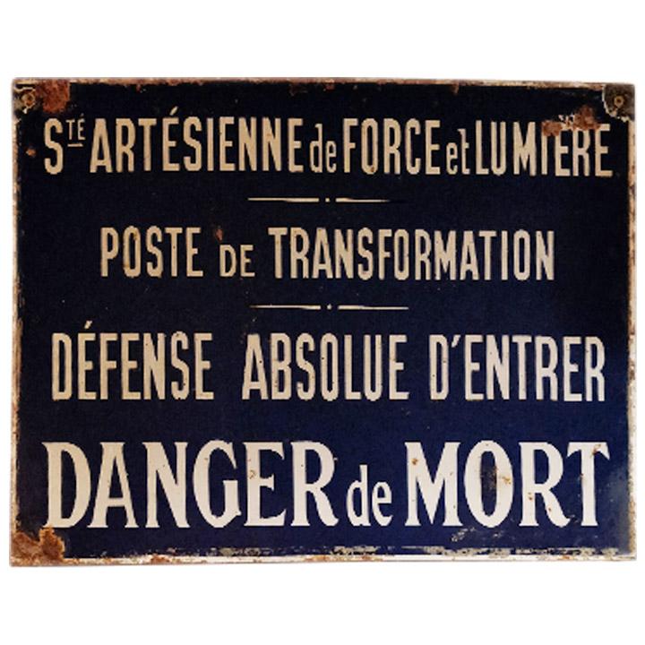 Plaque émaillée Société Artésienne de Force et Lumière