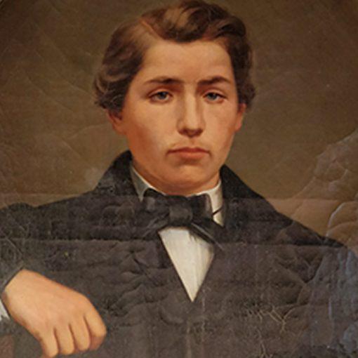 Tableau représentant un jeune homme accoudé