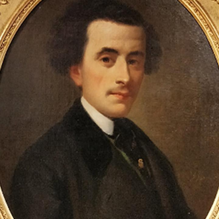 Tableau représentant un homme au col blanc