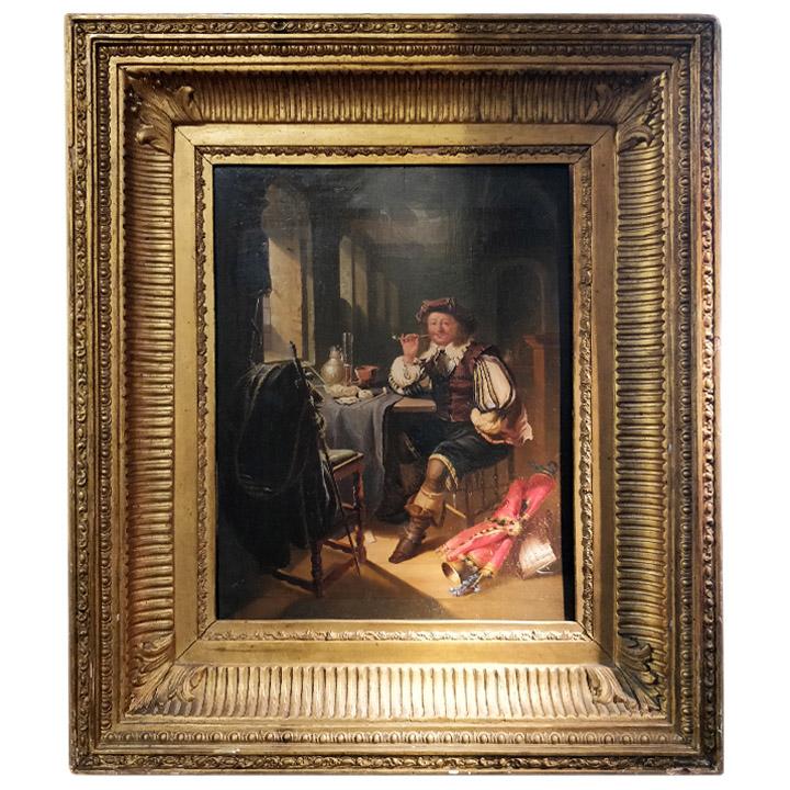 Tableau représentant un homme fumant la pipe