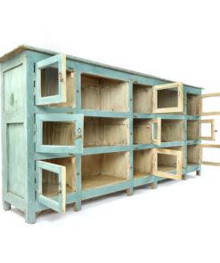Buffet vitré bleu en bois - Julien Cohen Affaire Conclue