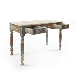 Table en bois patinée à 2 tiroirs - Julien Cohen Mes Découvertes