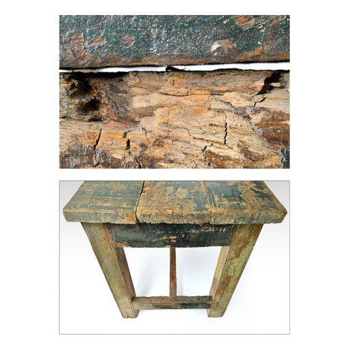 Table en bois patiné - Julien Cohen Mes Découvertes