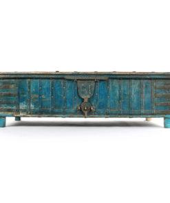 Coffre en bois à la patine turquoise - Julien Cohen Affaire Conclue