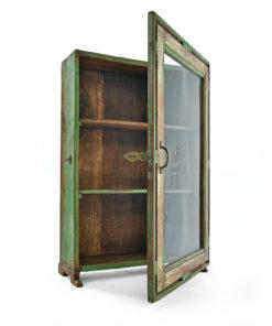 Petite vitrine verte en bois patiné - Julien Cohen Mes Découvertes