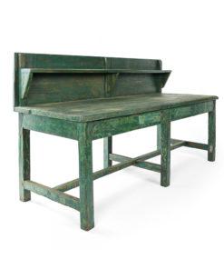 Table d'atelier en bois patiné avec son étagère