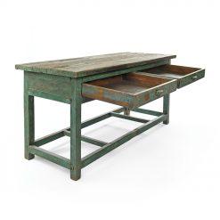 Table en bois patiné à 2 tiroirs - Julien Cohen Affaire Conclue