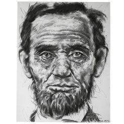 Portait d'Abraham Lincoln sur toile réalisé au fusain par Hom Nguyen - Julien Cohen Mes Découvertes