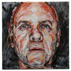 Portait d'Anthony Hopkins sur toile réalisé à la peinture à l'huile par Hom Nguyen - Julien Cohen Mes Découvertes