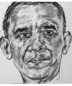 Portait de Barack Obama sur toile réalisé au fusain par Hom Nguyen - Julien Cohen Affaire Conclue