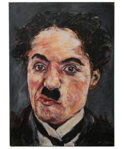 Portait de Charlie Chaplin sur toile réalisé à la peinture à l'huile par Hom Nguyen - Julien Cohen Mes Découvertes Brocante en ligne