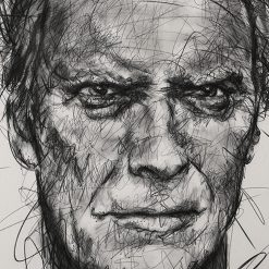 Portait de Clint Eastwood sur toile réalisé au fusain par Hom Nguyen - Julien Cohen Mes Découvertes