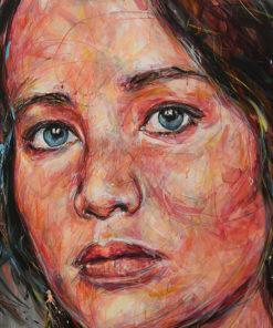 Portait de Jennifer Lawrence sur toile réalisé à la peinture à l'huile par Hom Nguyen - Julien Cohen Affaire Conclue