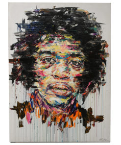 Portait de Jimi Hendrix sur toile réalisé à la peinture à l'huile par Hom Nguyen - Julien Cohen Mes Découvertes