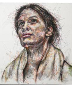 Portrait de Margaret « Maggie » Fitzgerald sur toile réalisé au Posca par Hom Nguyen - Julien Cohen Mes Découvertes