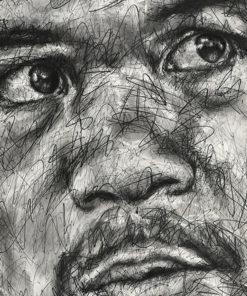 Portait de Manny Pacquiao sur toile réalisé au fusain et Posca par Hom Nguyen - Julien Cohen Mes Découvertes