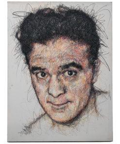 Portait de Marcel Cerdan sur toile réalisé au fusain et Posca par Hom Nguyen - Marché aux puces Saint Ouen - Mes Découvertes