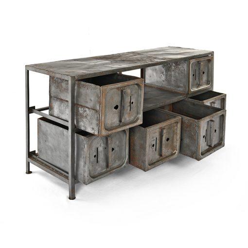 Meuble d'atelier à 6 casiers en métal - Meuble de Metier Julien Cohen