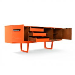 Enfilade laquée orange restaurée Circa 1970 - Julien Cohen Affaire Conclue