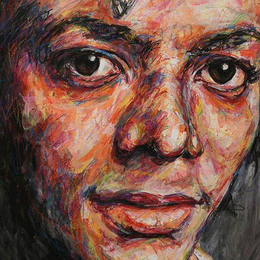 Portait de Michael Jackson sur toile réalisé à la peinture à l'huile par Hom Nguyen - Julien Cohen Mes Découvertes