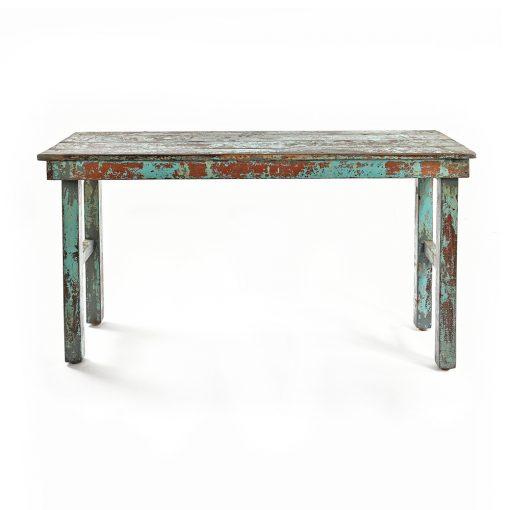 Table pliante en bois patiné bleu
