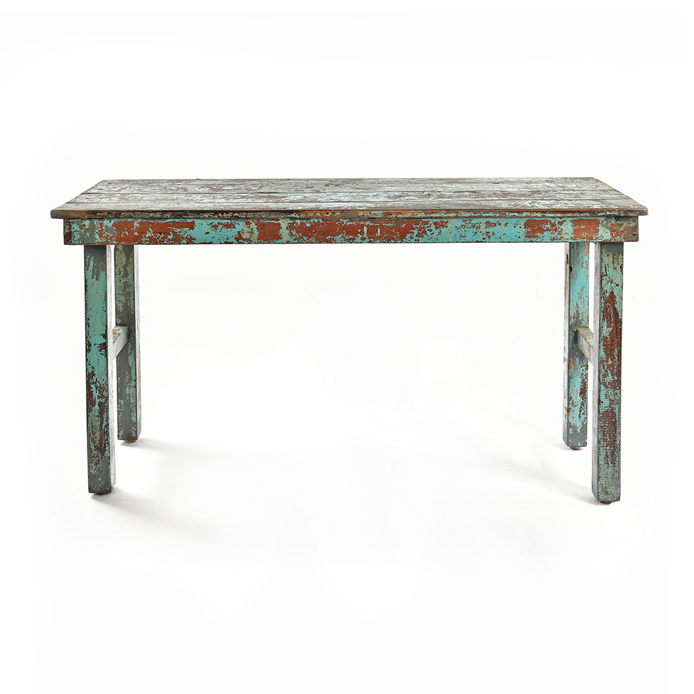 Table Pliante En Bois Patine Bleu