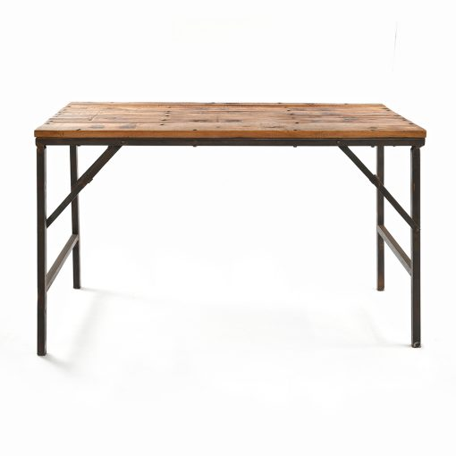 Table pliante en bois avec pieds en fer