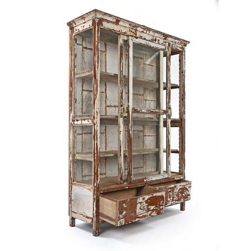 Armoire vitrée en bois patiné à 2 tiroirs - Julien Cohen