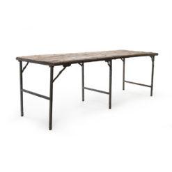 Table pliante en bois et métal