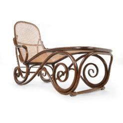 Chaise longue en rotin Thonet