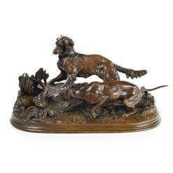 Bronze chiens de chasse à cour Pierre-Jules Mène